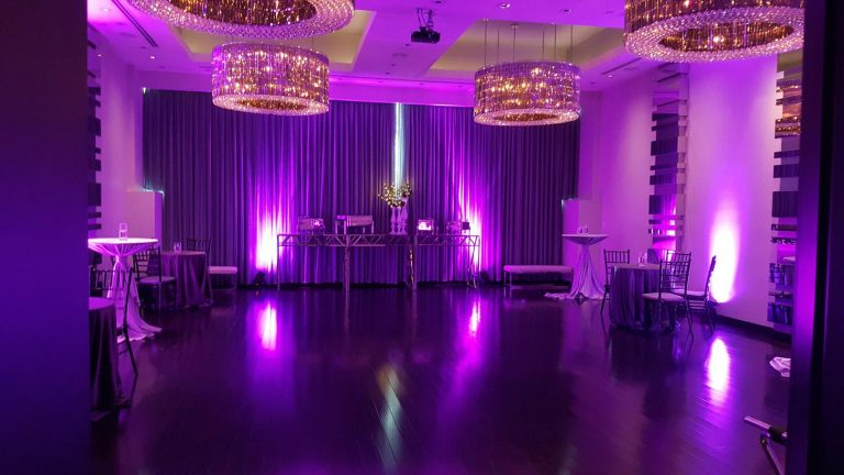 Ivy Hotel Chicago overall of purple themed event space