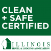 clean and safe certified Illinois logo from the illinois hotel and lodging association